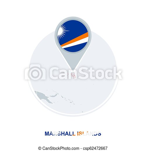 Marshall Islands map and flag, vector map icon with highlighted Marshall  Islands