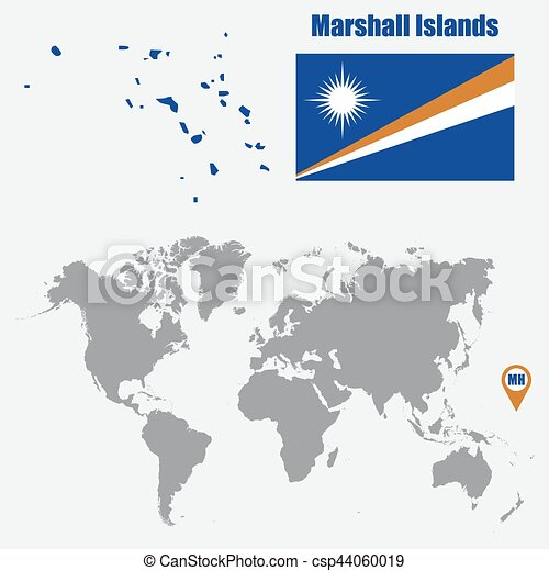 Marshall Islands map on a world map with flag and map pointer. Vector  illustration