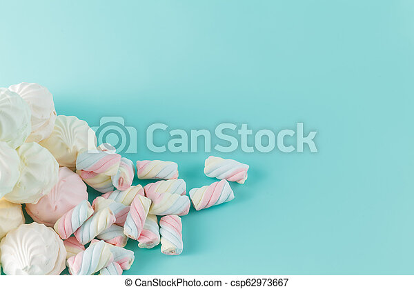 marshmallow hill on aquamarine background - csp62973667