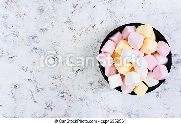 Marshmallow on white background. Top view - csp46359561