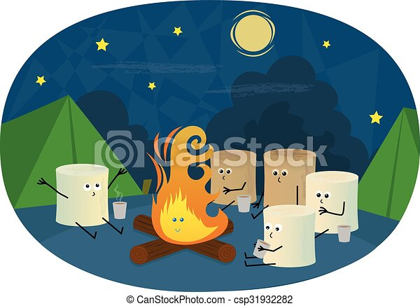 Marshmallows Camping Cute Are Sitting Around A