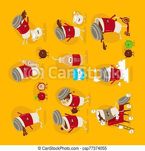 marshmallows., grano de café, taza, vuelo, leche, juego, vector, conjunto, stickers., divertido, saltar - csp77374055