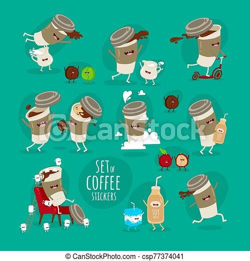 marshmallows., grano de café, taza, vuelo, leche, juego, vector, conjunto, stickers., divertido, saltar - csp77374041