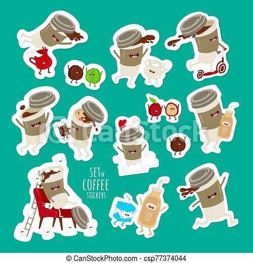 marshmallows., grano de café, taza, vuelo, leche, juego, vector, conjunto, stickers., divertido, saltar - csp77374044