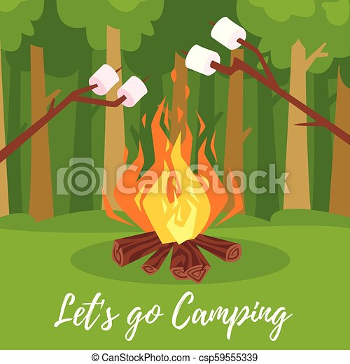 vector cartoon style illustration of marshmallows on stick roasting