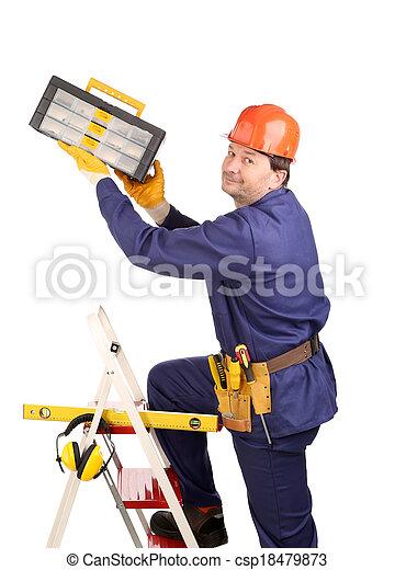 marteau, échelle, ouvrier - csp18479873