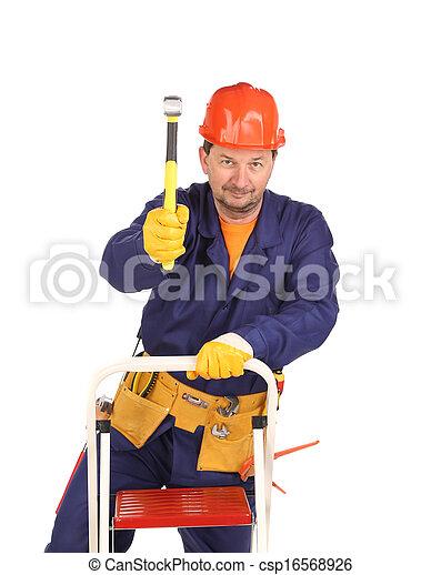 marteau, échelle, ouvrier - csp16568926