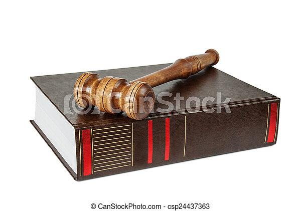 marteau, bois, soundblock, livre, épais - csp24437363