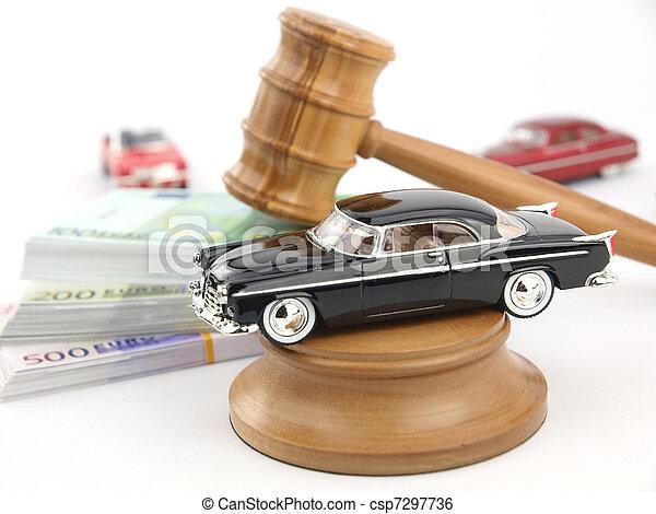 marteau, enchère, voiture, argent - csp7297736
