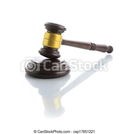 marteau, juge, blanc, isolé, fond - csp17651221
