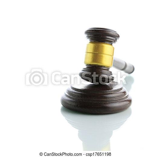 marteau, juge, blanc, isolé, fond - csp17651198