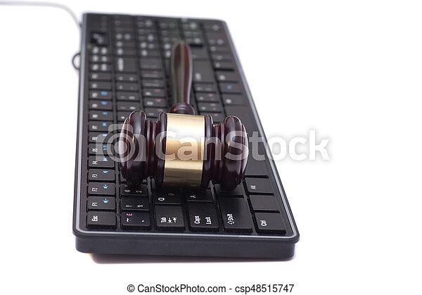 marteau, juge, informatique, noir, clavier - csp48515747