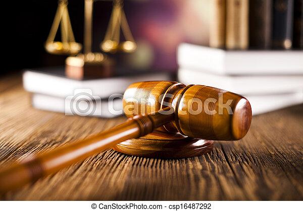 marteau, justice, livres, balances - csp16487292