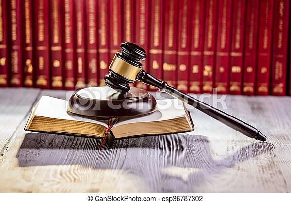 marteau, symbole, palais justice, bibliothèque - csp36787302