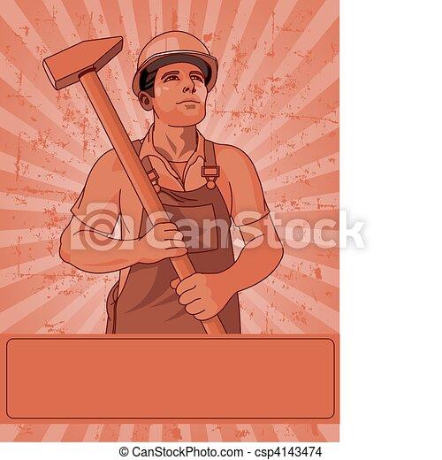 martelo, trabalhador - csp4143474