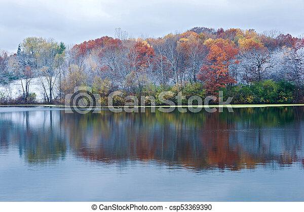 Marthaler Park Snowy Autumn Morning - csp53369390