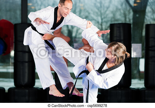 Martial Arts sport training in gym - csp5699278