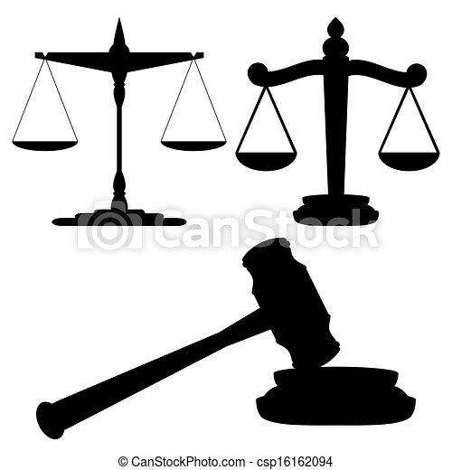 Escamas de justicia y martillo - csp16162094