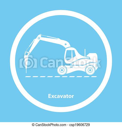 Excavador con martillo hidráulico - csp19606729