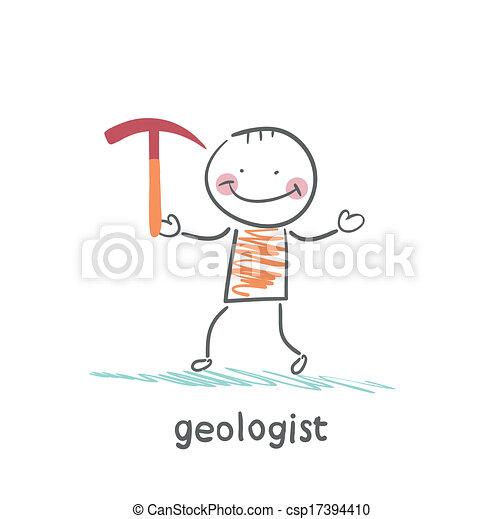 Geólogos sosteniendo un martillo - csp17394410