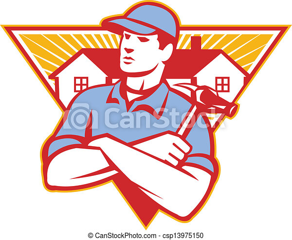 Ilustración de un obrero constructor con brazos de martillo cruzados con casa en el fondo del triángulo hecho en estilo retro. - csp13975150