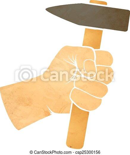 Mano sosteniendo un martillo - csp25300156