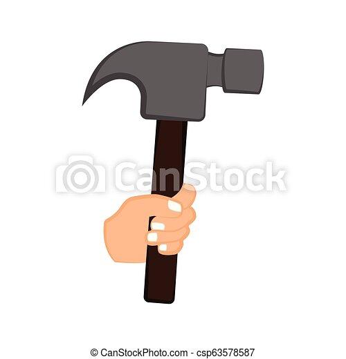 Mano sosteniendo un martillo - csp63578587
