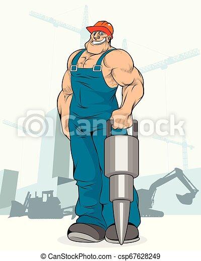 Constructor con un martillo neumático - csp67628249