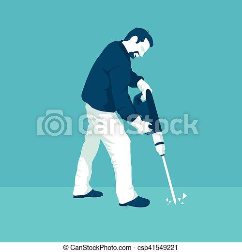 Un hombre con un martillo neumático - csp41549221