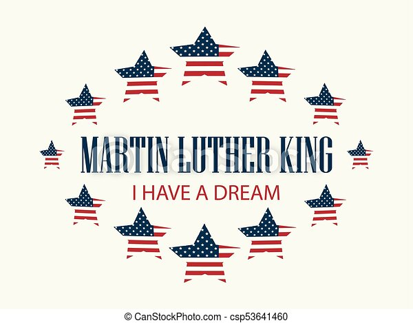Martin Luther King Day Star With Flag Usa Holiday Background With
