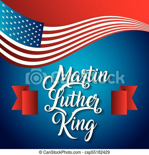 martin luther king usa flag waving modern design card - csp55182429