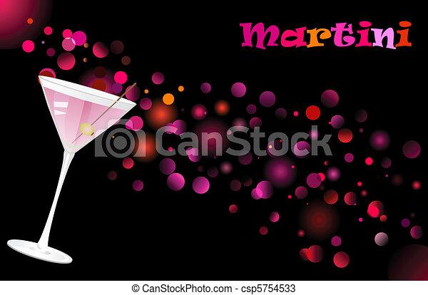 Martini cocktail on defocused illumination background - csp5754533