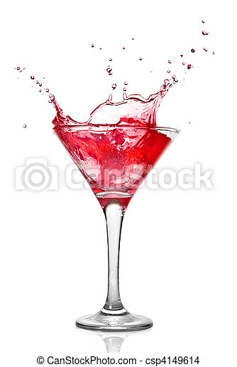 Martini cocktail with splash isolated on white - csp4149614