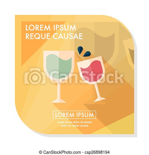 Martini glass cheers flat icon with long shadow,eps10 - csp26898194