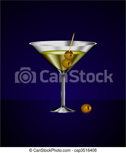 martini glass cocktail with olives - csp3516408