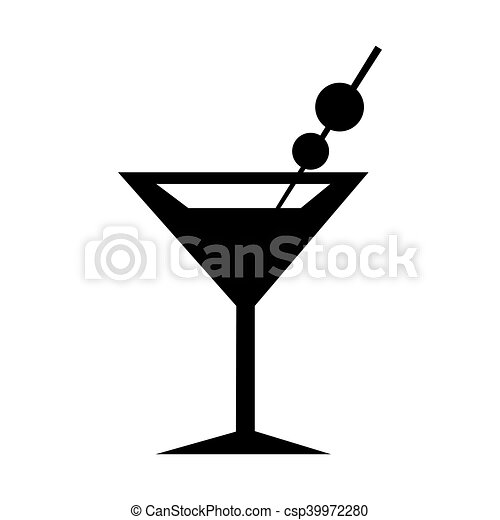 martini glass icon silhouette martini glass icon flat design rh canstockphoto com Clip Art Martini Glasses W Heel Wine Glass Clip Art