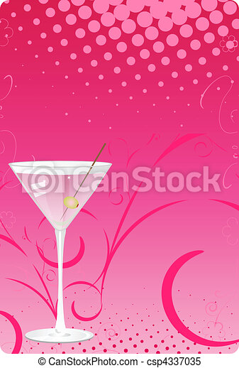 Martini glass on pink halftone back - csp4337035
