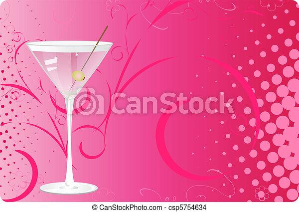 Martini glass on pink halftone background - csp5754634