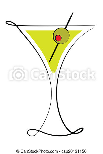 Martini Glass with Olive - csp20131156