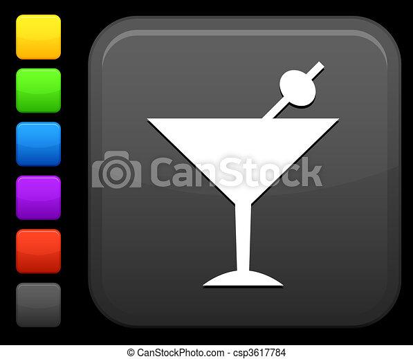 martini icon on square internet button - csp3617784