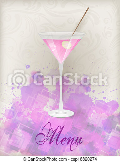 Martini menu on abstract background - csp18820274