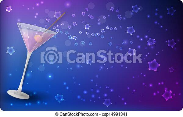 Martini on night background with stars - csp14991341