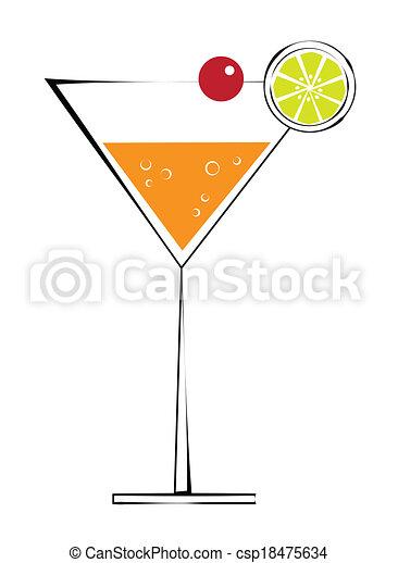 Martini with Cherry - csp18475634