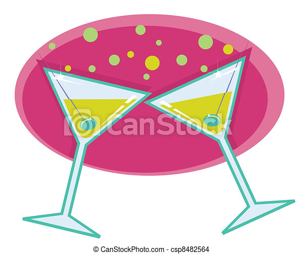 Martinis retro style illustration.  - csp8482564