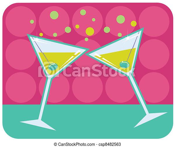 Martinis retro style illustration.  - csp8482563