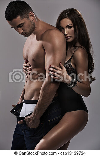 Marvelous woman feeling safe with her man - csp13139734