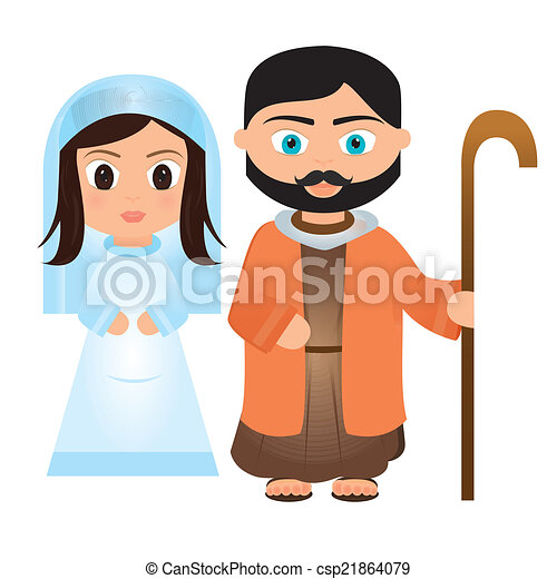 virgin mary and joseph cartoon on a white background rh canstockphoto com the holy family of jesus mary and joseph clipart mary and joseph travel to bethlehem clipart