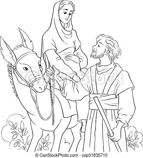 mary and joseph travelling by donkey to bethlehem nativity story csp31835710