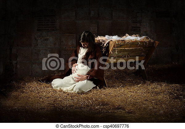 Mary and the Manger on Christmas Eve - csp40697776