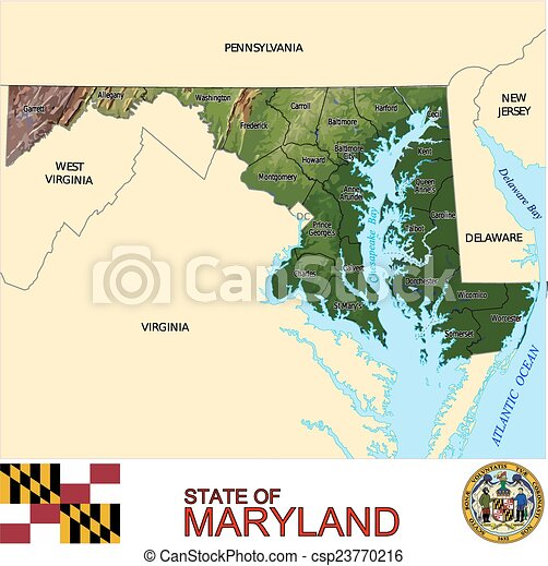 Maryland counties map.